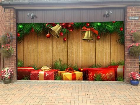 3d christmas door decoration merry garage door covers 3d banners tree decorations outdoor billboard murals