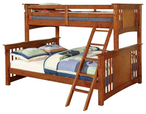 extra long full size bed spring creek mission style oak finish extra long twin over