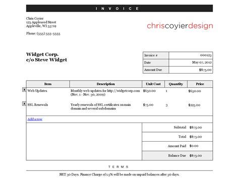 css templates for invoices css tricks editable invoice document templates pinterest