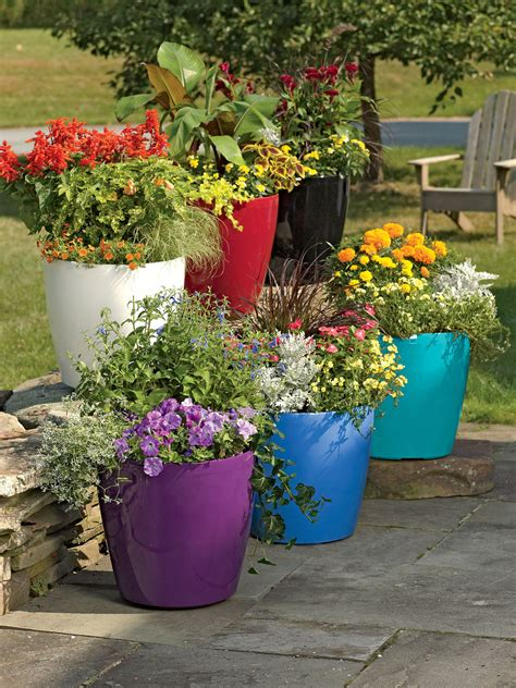 patio flower pots large flower pots plastic rolling viva self watering planters