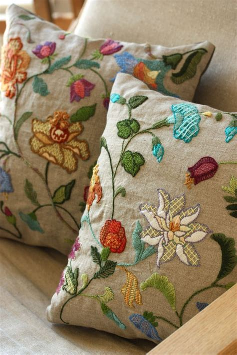 Needlework Pillows by Crewel Embroidery Pillow Needle And Stitches