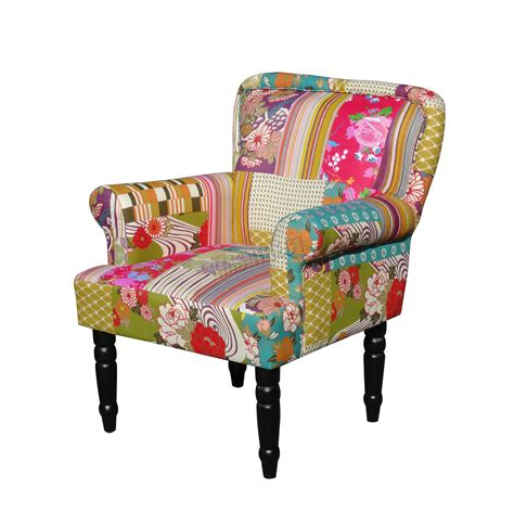 patchwork chairs foxhunter patchwork chair fabric vintage armchair seat bedroom furniture pc081 ebay