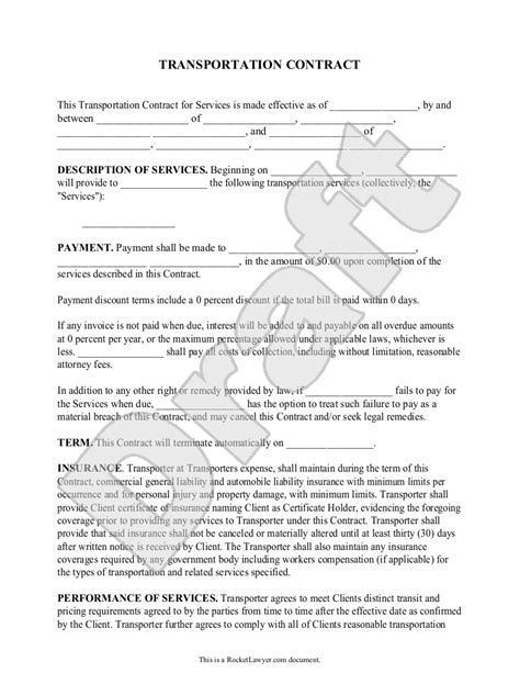 transportation contract agreement form  sample broker contract sample real state