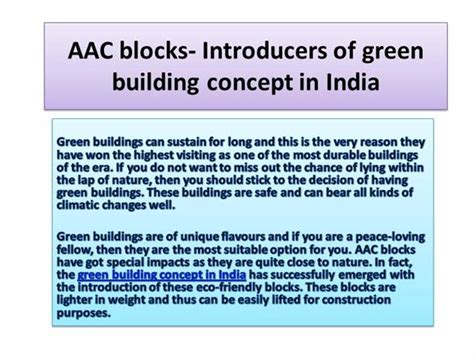 Aac Blocks Introducers Of Green Building Concept In India Green Building Concept Ppt