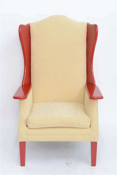 Modern High Back Armchair by 1950s Modern High Back Lacquered Wing Back Armchair At 1stdibs