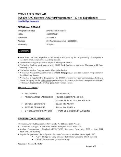cv conrad biclar resume