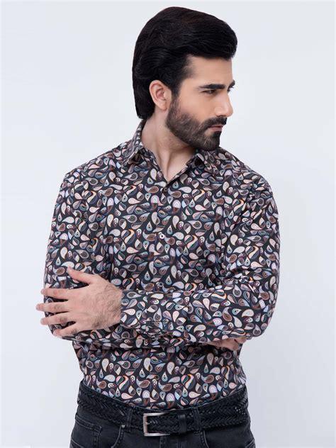 Printed Back Shirt black paisley printed shirt brumano