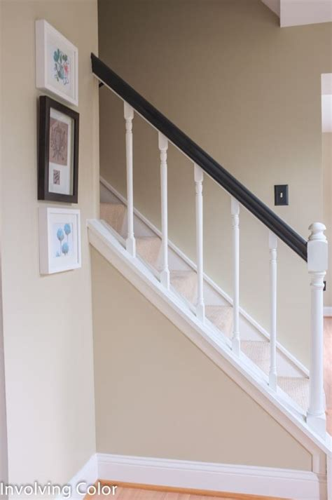white banister rail black and white painted banisters how to paint an oak