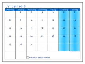 Kalender 2018 Januari Februari Kalenders Om Af Te Drukken Januari 2018 Kleur Belgi 235