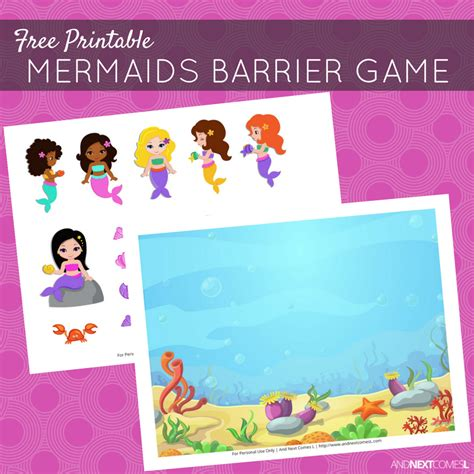 printable barrier games free printable mermaids barrier game for speech therapy
