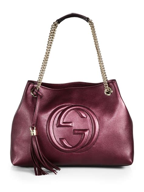 Ficcare Metallic Leather Bags by Gucci Soho Metallic Leather Shoulder Bag In Lyst