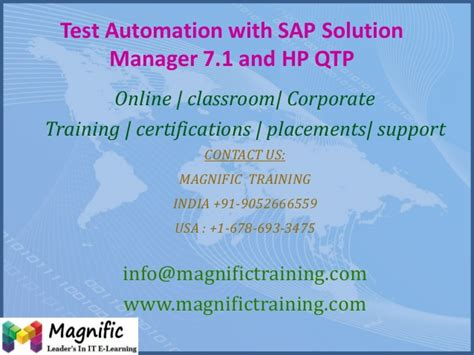 sap qtp tutorial test automation with sap solution manager 7 1 and hp qtp
