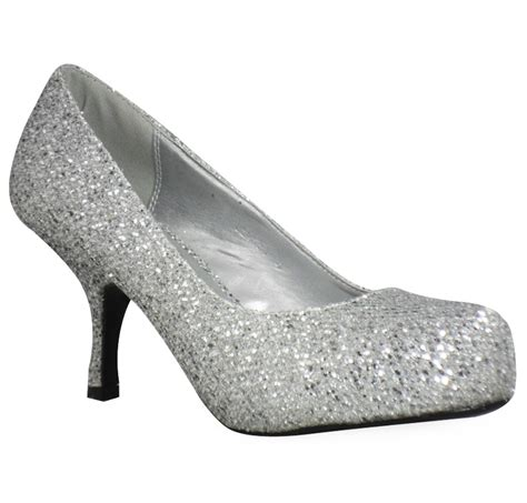 A N A Shop High Heels Gliter Silver Lj 05 Limited Womens Silver Glitter Low Kitten Heel Pumps