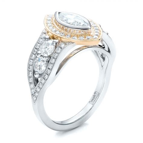 custom marquise two tone engagement ring 101258
