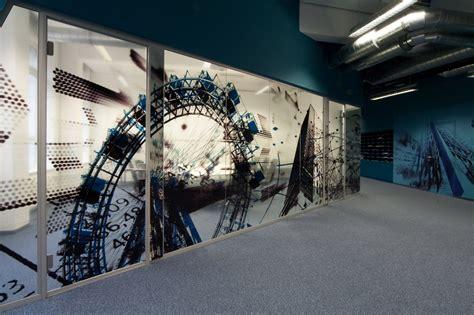 blue white office window graphic art interior design ideas