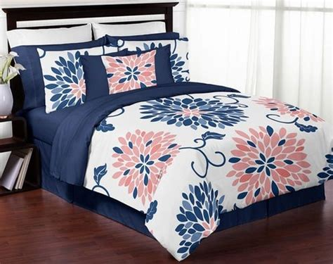 coral navy bedding navy blue and coral ava 3pc girls teen full queen bedding set collection by sweet
