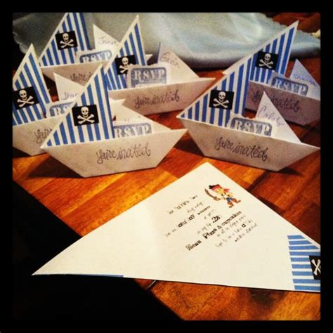 Themed Origami - pirate themed origami sail boat invites i found how to