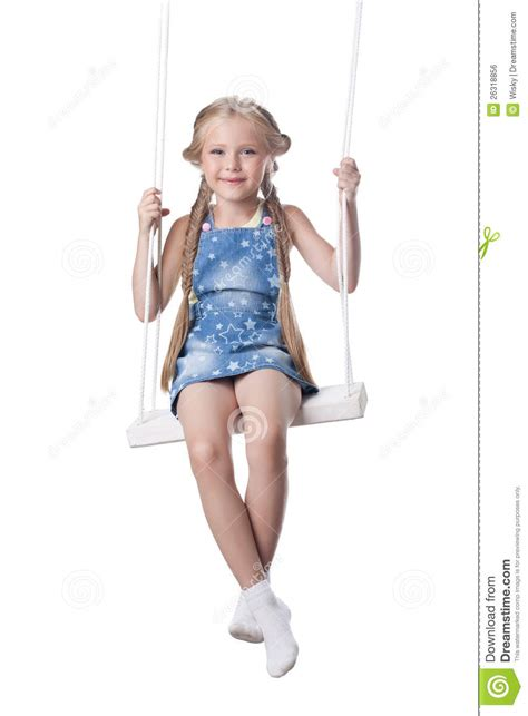 girls on swings happy girl sitting on swing royalty free stock image