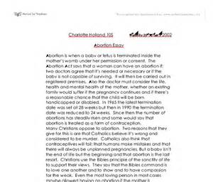 Abortion Essay by Abortion Essay Gcse Religious Studies Philosophy Ethics Marked By Teachers