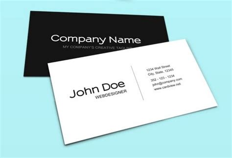 black and white business cards templates psd 44 free clean and simple white business card template in