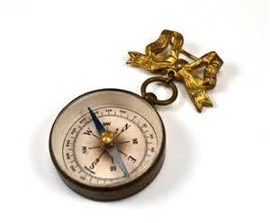 Monogrammed Wedding Gift Antique Compass Brooch Pin Working Compass With Bow Pin