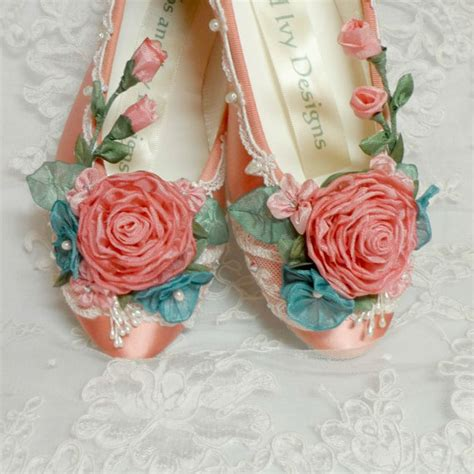 ballet flower shoes coral ballet flats wedding flats coral ballet slippers