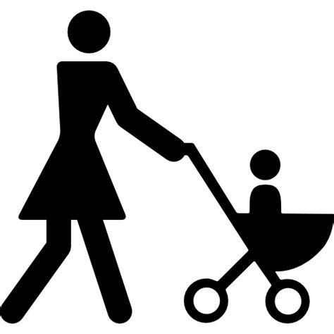 mother walking   son   stroller  people icons