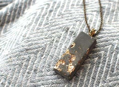 how to make concrete jewelry gold leaf and concrete pendant necklace rustic modern