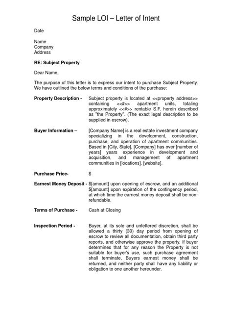 Letter Of Intent Length sle letter of intent loi real estate investing business