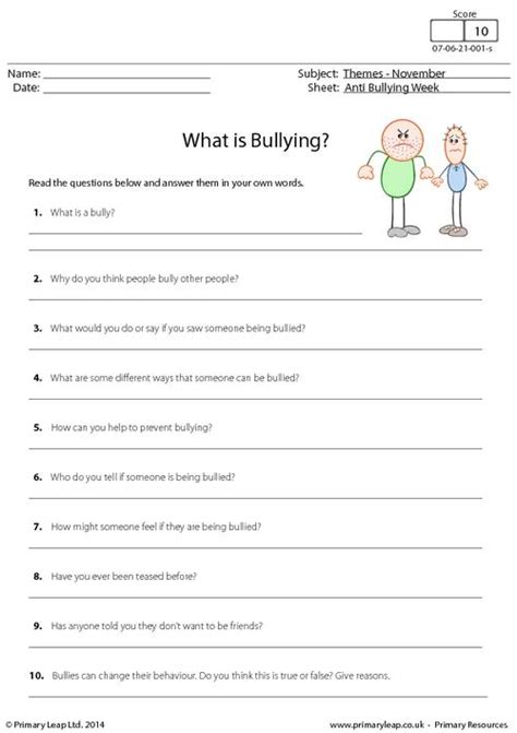 Bullying Worksheets by Anti Bullying Worksheet