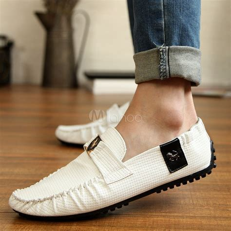 Casual White PU Leather Men's Loafer Shoes   Milanoo.com
