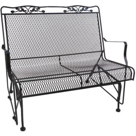 wrought iron patio glider bench arlington house glenbrook black patio glider 7874000