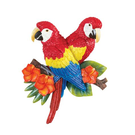 tropical parrot painted resin wall decor by