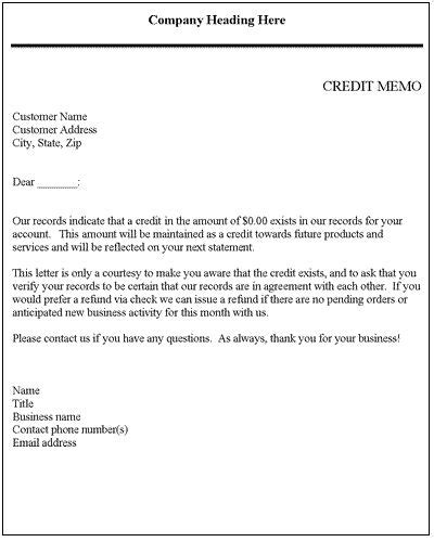 Letter Of Credit Reimbursement Credit Memo Credit Letter Template Credit Report Letters And Letter Sle