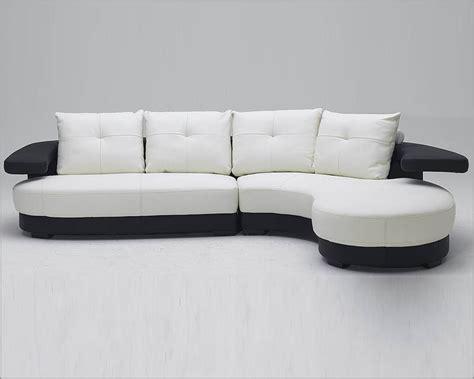 Black And White Ultra Modern Full Leather Sectional Sofa Black And White Leather Sofa Set