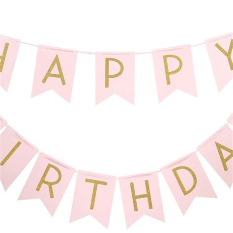 Balloonable Bunting Flag Happy Birthday Pastel pastel gold pink happy birthday bunting banner caign