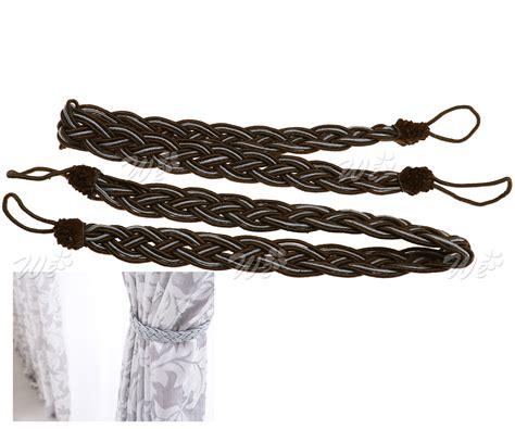 black rope curtain tie backs 2 x braided satin rope curtain tie backs holdbacks holder