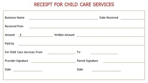 professional receipt for child care services