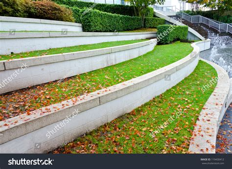 Luxury Home Design Show Vancouver by Leveled Terraces Grass Fountains City Plaza Stock Photo