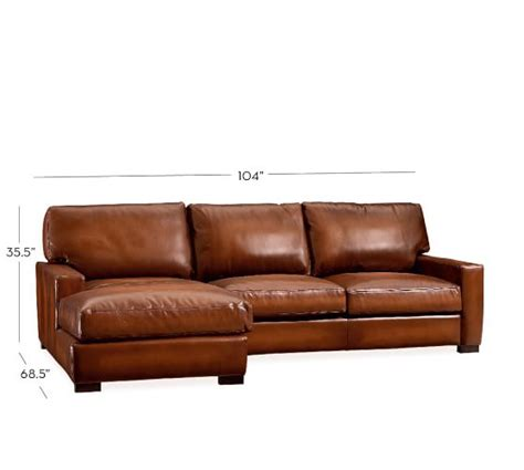 Turner Square Arm Leather Sofa With Chaise Sectional Leather Sectional Sofas With Chaise