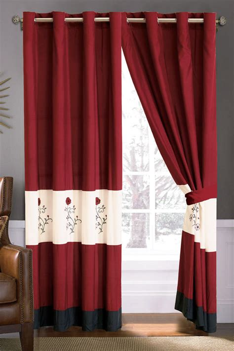 burgundy and black curtains 4p floral scroll embroidery curtain set burgundy black