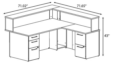 desk dimensions in reception desk dimension