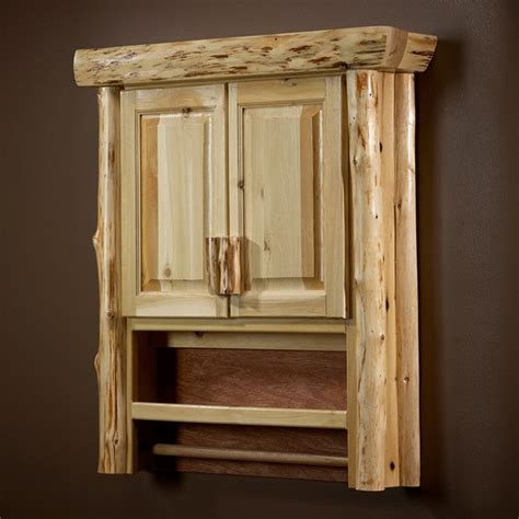 Rustic Bathroom Wall Cabinet Cedar Log The Toilet Cabinet Great For Storing Toilet Paper And Towel Bar For Above
