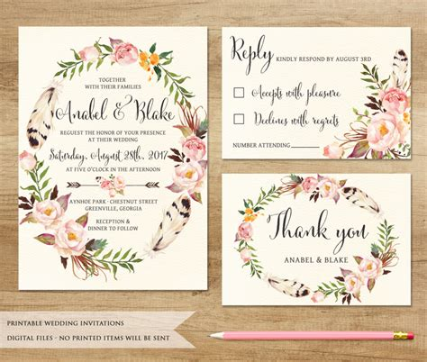 solemnization invitation card template stunning bohemian wedding invitations theruntime