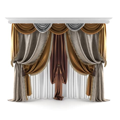model curtains 3d classical curtains model