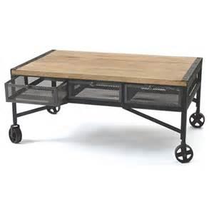 vintage industrial loft rolling steel wood coffee table - Rolling Coffee Table