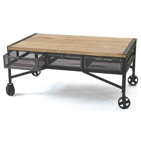 Rolling Coffee Table Vintage Industrial Loft Rolling Steel Wood Coffee Table
