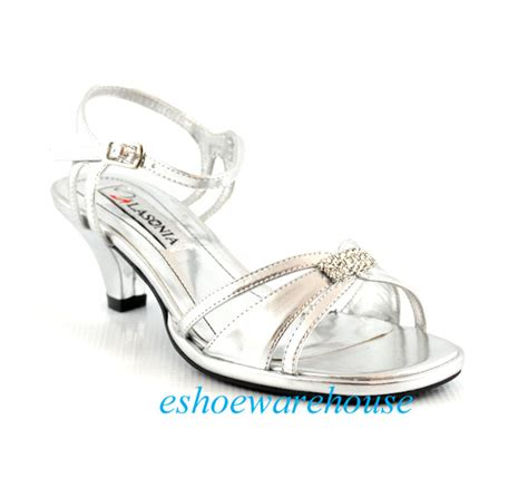 silver metallic low comfy mid heel dress rhinestone
