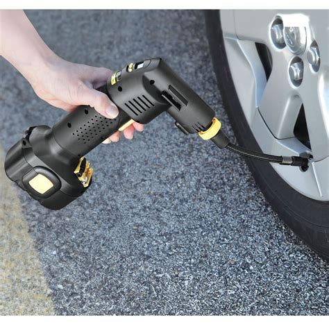 best portable tire inflator the only automatic cordless tire inflator hammacher