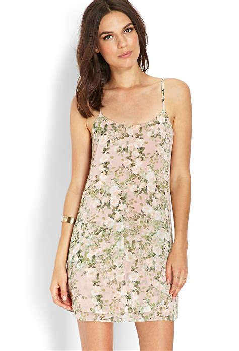 Forever21 Layered Vented Back Dress In Green forever 21 floral layered cami dress 21 in beige green lyst